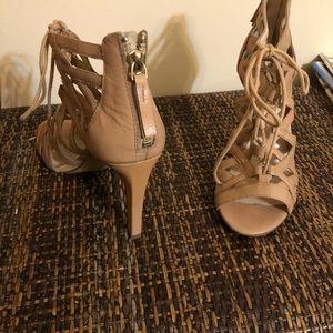 Stunning tan lace-up high heel dress shoes?